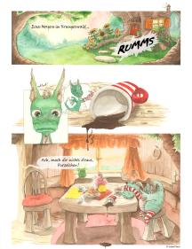 Kleine Drachen bleiben gern' zum Frühstück - Eine Comic-Seite