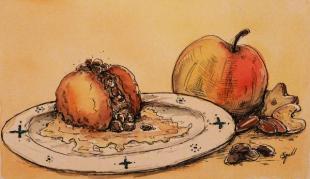 Web-Illustration zu einem Bratapfel-Rezept