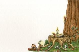 """Kinderbuchseite aus """"Die Eule mit dem Frosch im Hals"""" mit Sabine Schwab"""